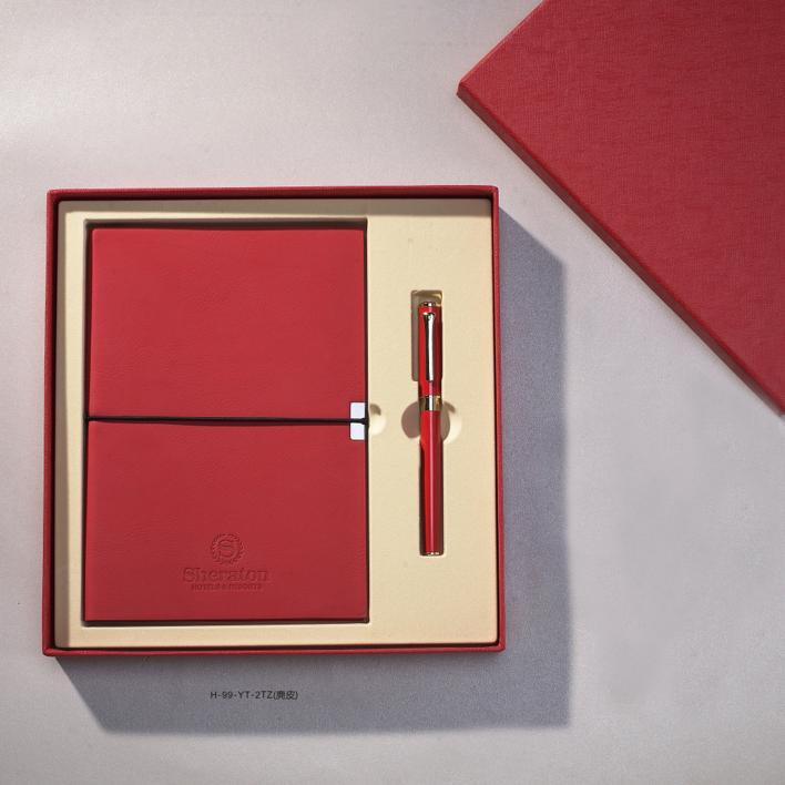 商务礼品 商务笔记本 精品商务礼盒套装 两件套 商务平装笔记本、金属签字笔