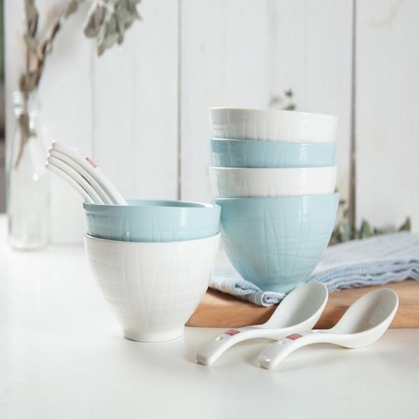 顺祥缤纷餐具12头套装 陶瓷餐具 活动会议商务赠品 促销定制