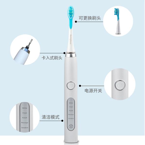 美国西屋(Westinghouse)电动牙刷 成人充电式声波震动电动牙刷 全自动牙刷 WT-501W美国西屋(West
